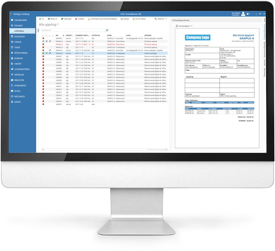 När en arbetsorder är slutförd så levererar systemet en tydlig Servicerapport.